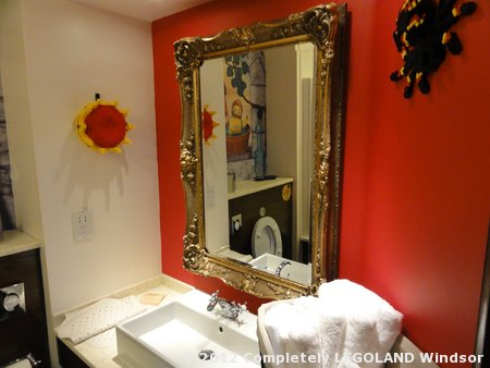 Kingdom bathroom, complete with LEGO crown and spider!
