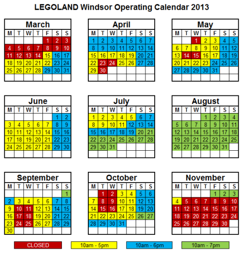 Completely legoland windsor park information opening times for Operating schedule template